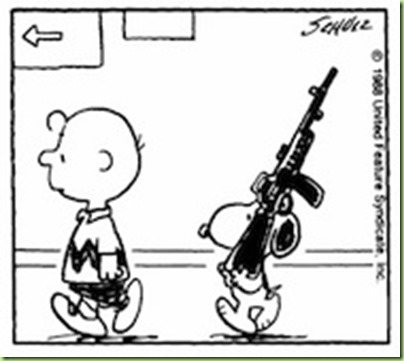 snoopy with a gun