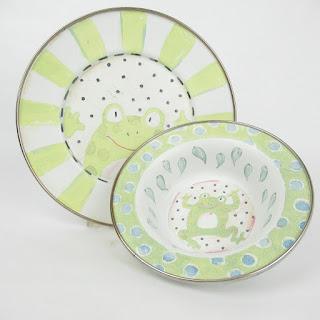 Mac Kenzie Childs Frog Bowl & Plate
