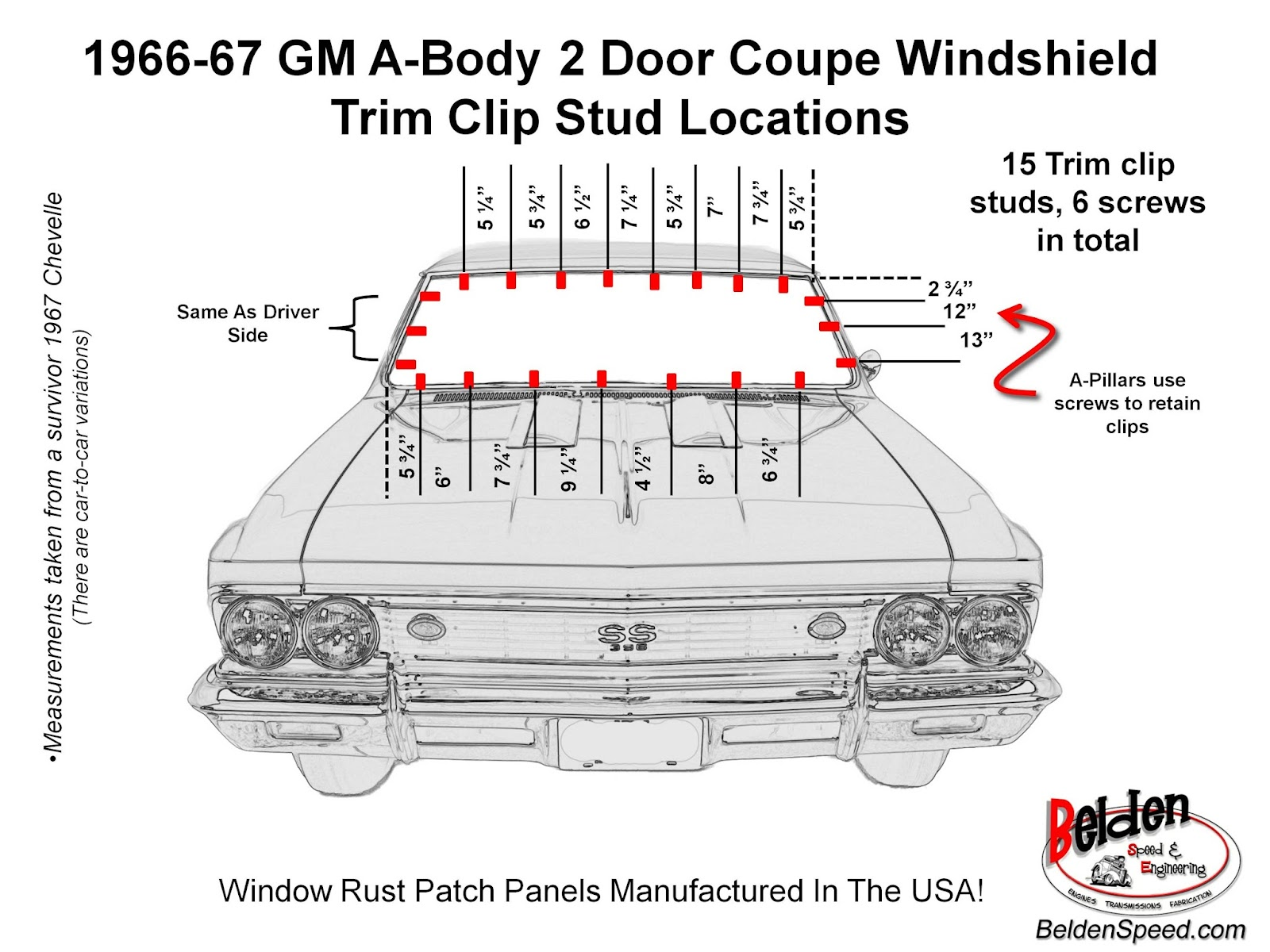1966 1967 Chevelle And All Gm A Body Windshield Trim