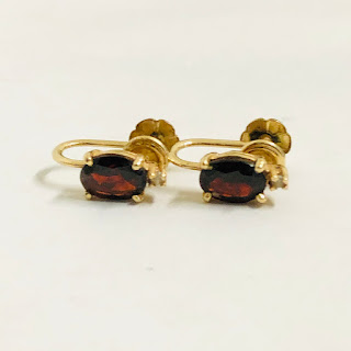 14K Gold, Red & Clear Stone Earrings