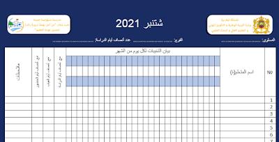 سجل الغياب Word 2021 2022