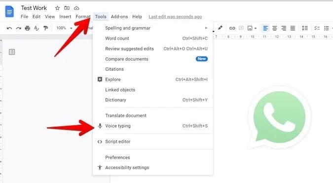 مستندات جوجل تمكن الكتابة الصوتية