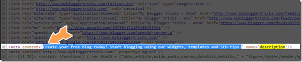 blogspot meta description box