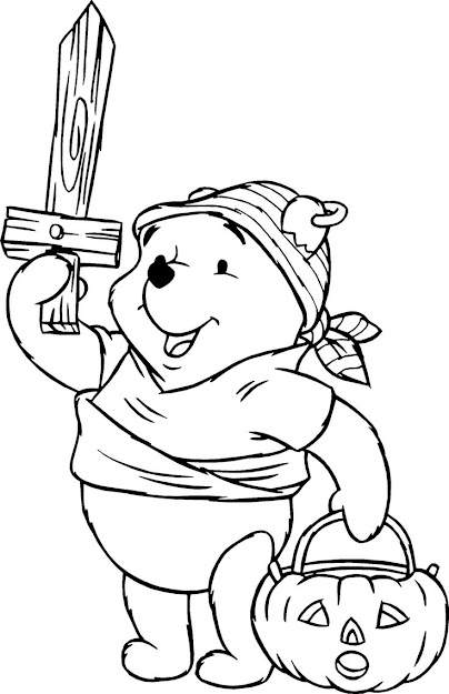 Pooh Halloween Coloring Pages For Young Children