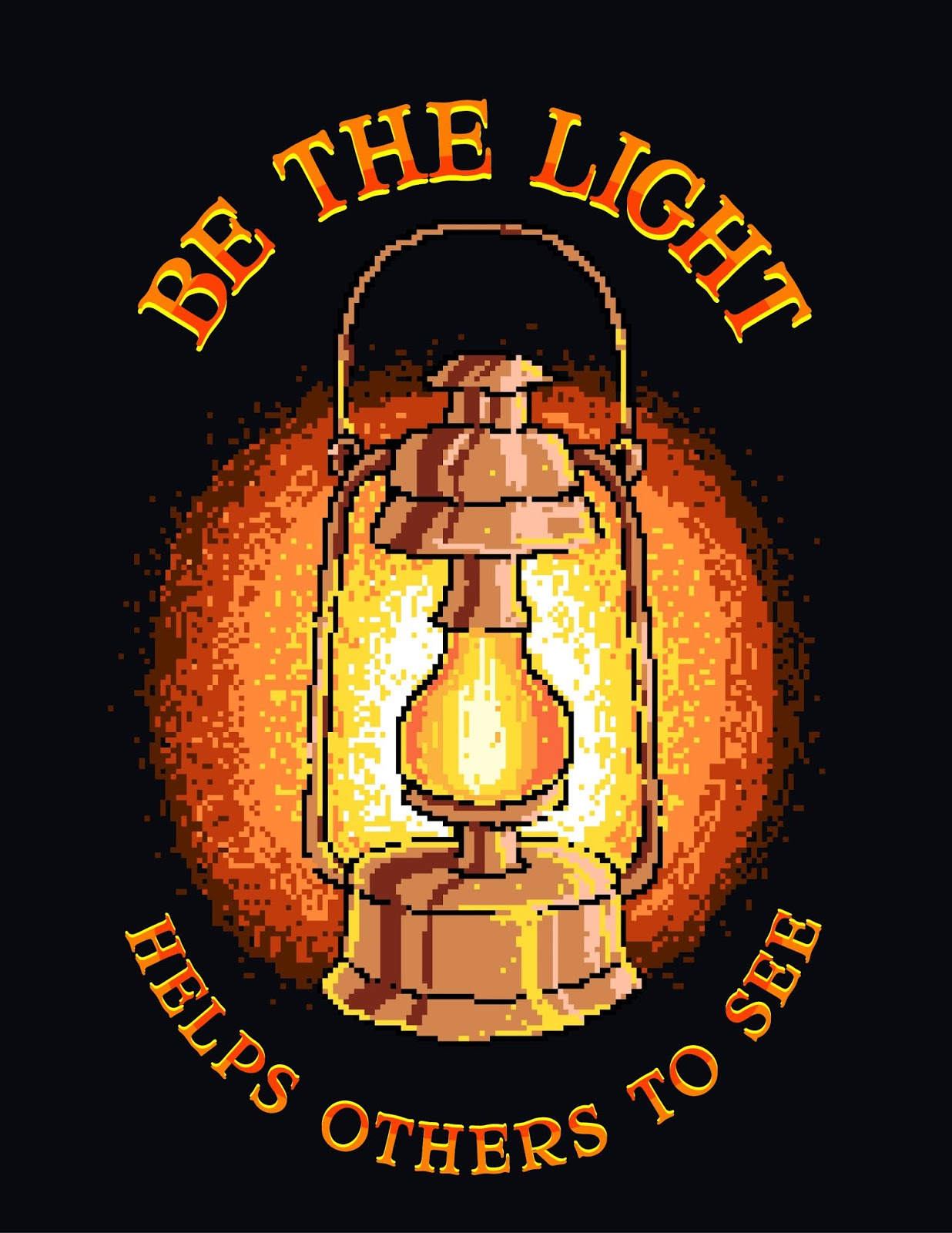 Pixel Art Vector Illustration Lantern With Motivational Positive Quote	 Free Download Vector CDR, AI, EPS and PNG Formats
