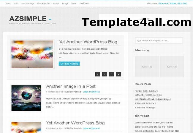 Free Simple Responsive Design Wordpress Theme