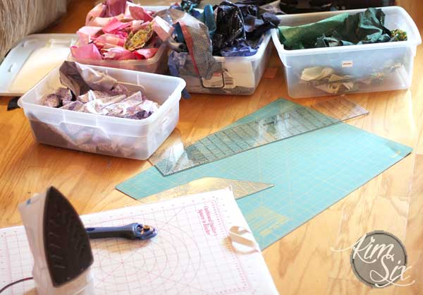 Cutting up scraps for temperature quilt