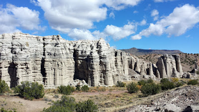 Plaza Blanca is 1 hour away from Santa Fe. Plaza Blanca, known also as the White Place, is a magical area located near Abiquiu, NM that inspired Georgia O'Keeffe. The limestone rock formations rise to 500 feet in certain locations