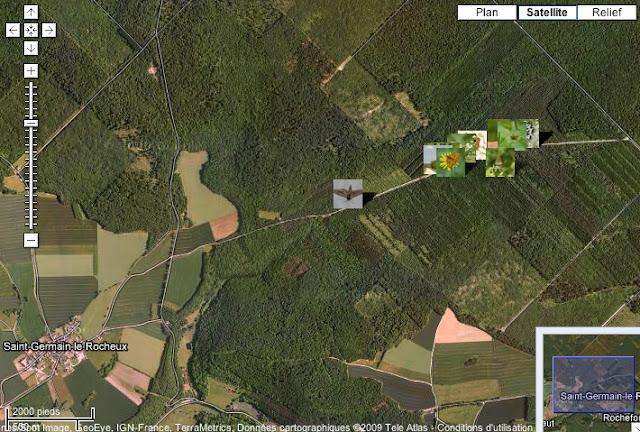 Localisation des photos le long de la Combe de l'Air (Forêt de Châtillon)