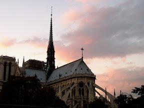 Notre Dame de Paris, east end, at sunset