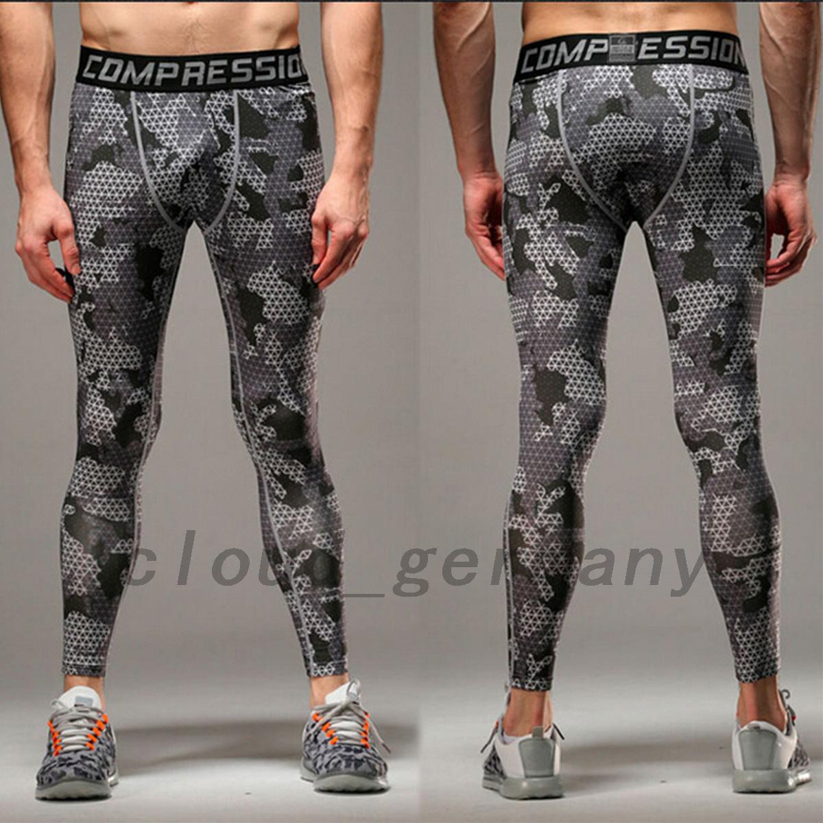 homme sport pantalon de compression leggings sport collant camoufl imprim ebay. Black Bedroom Furniture Sets. Home Design Ideas