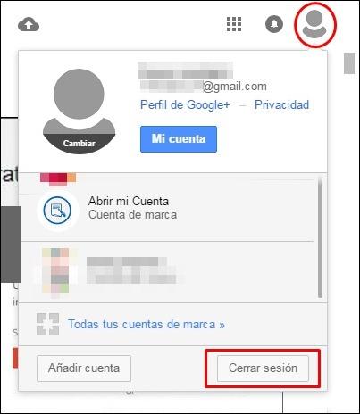 Cerrar sesión en Google Fotos