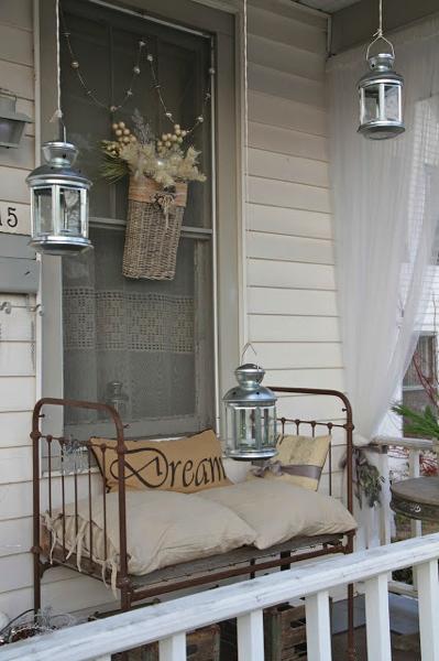 Vintage crib turned seating
