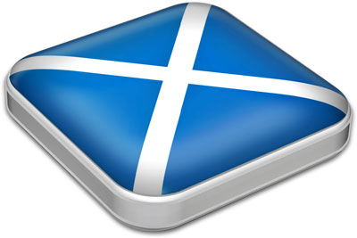 Flag of Scotland with metallic square frame