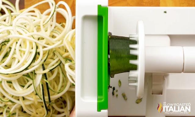 zucchini spirals on the spiraizer