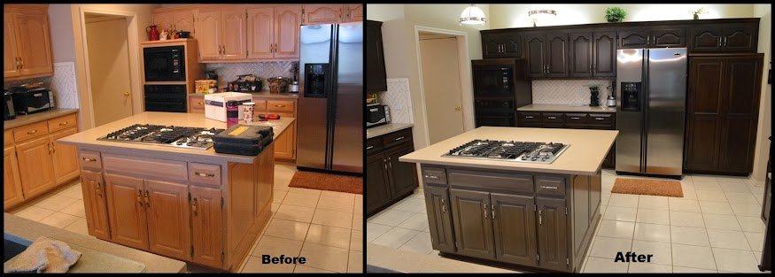Kitchen cabinet refinish with island before and after