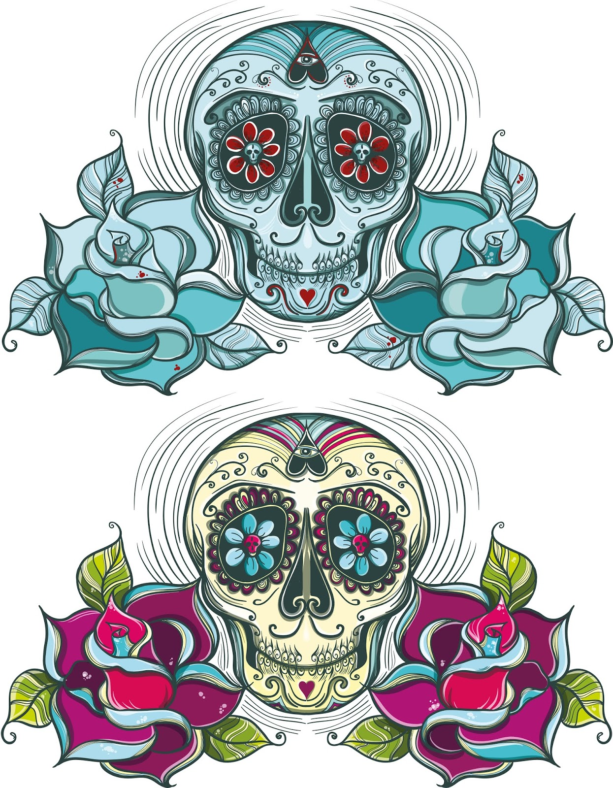 Vector Sugar Skull With Roses Colorful Unicolour Free Download Vector CDR, AI, EPS and PNG Formats