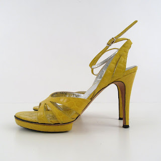 Dolce & Gabbana Crocodile Embossed Yellow Patent Leather Strappy Platform Sandal