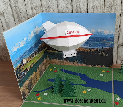 Geschenkbox Explosionsbox Überraschungsbox Zeppelinflug Zeppelin