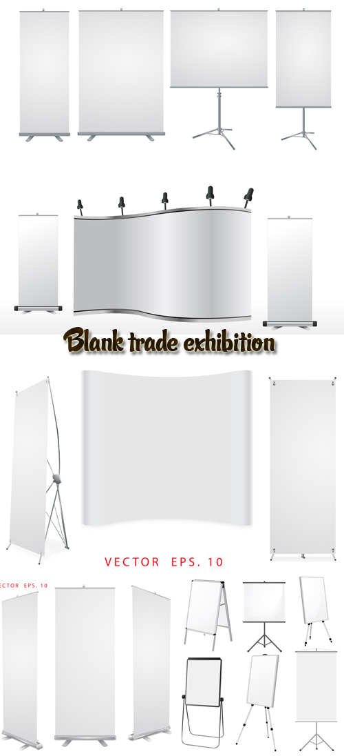 Stock: Blank trade exhibition stand and roll up banner
