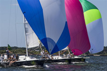 J105 one-design sailboats- sailing off Block Island