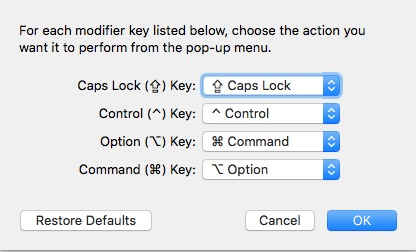 Mac keyboard for modifier keys