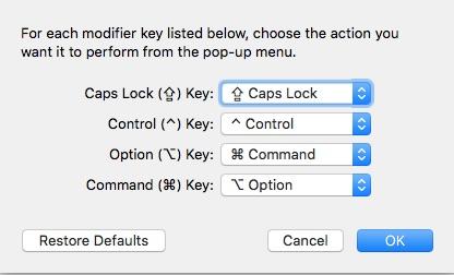 Mac keyboard for modifier keys