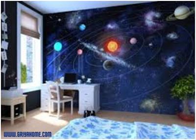 kamar anak warna biru