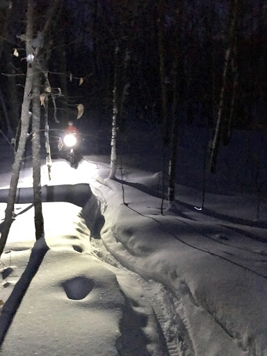 Night riding in the new snow from the week.