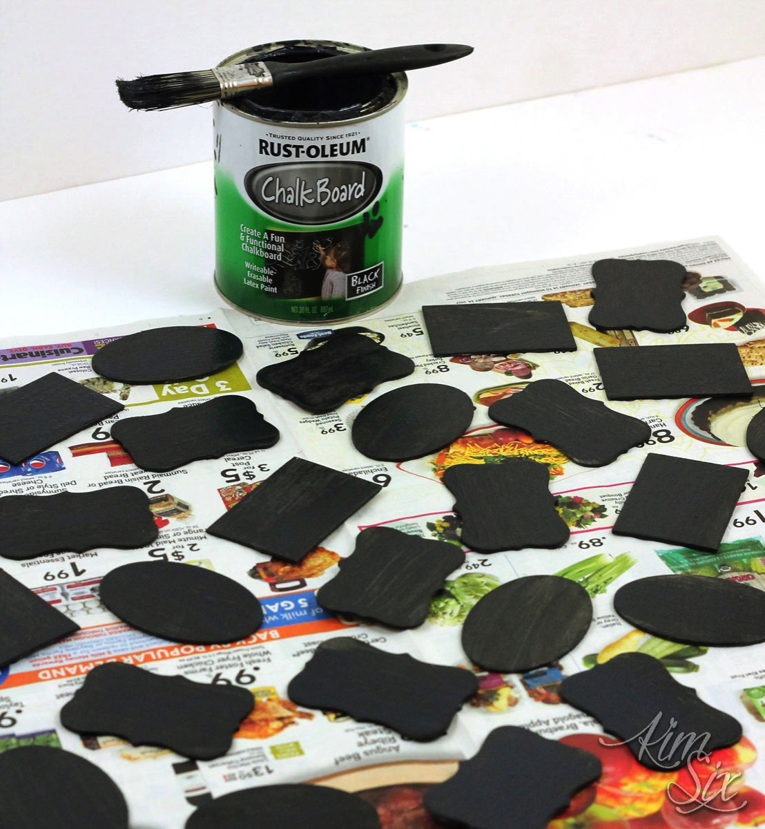 Painting mini chalkboards