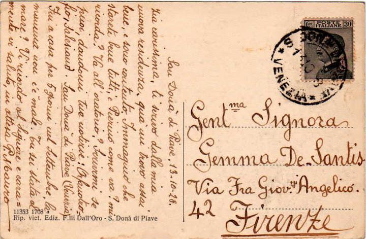 Cartolina spedita dal coad. Mauro Picchioni, uno dei primi salesiani arrivati a San Donà di Piave