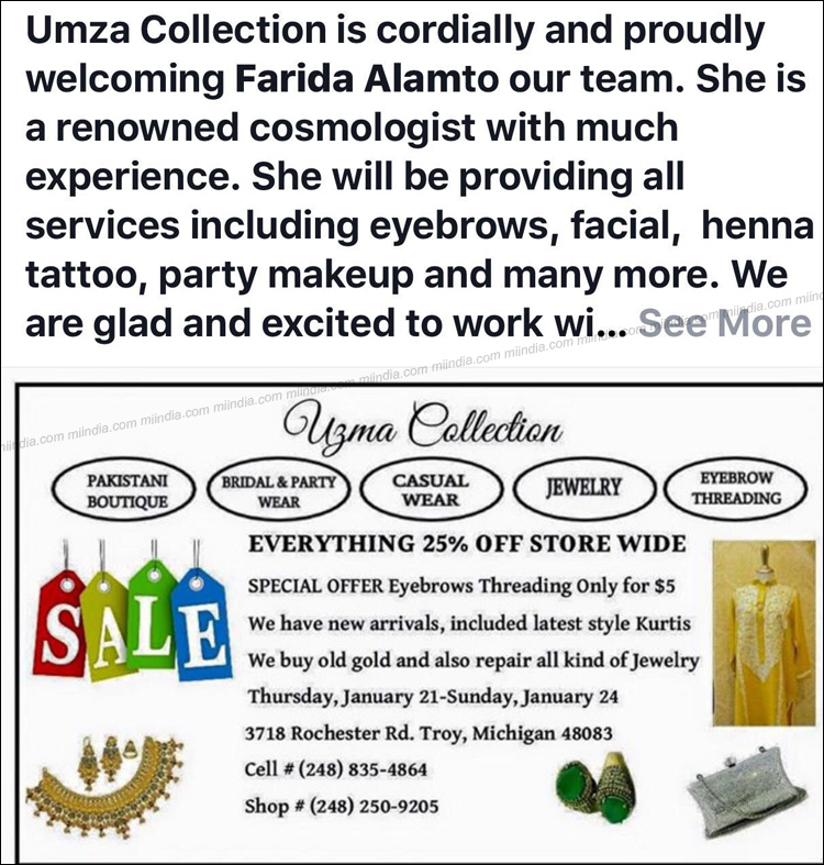 Uzma Collection Special 25 Off Sale In Detroit Michigan