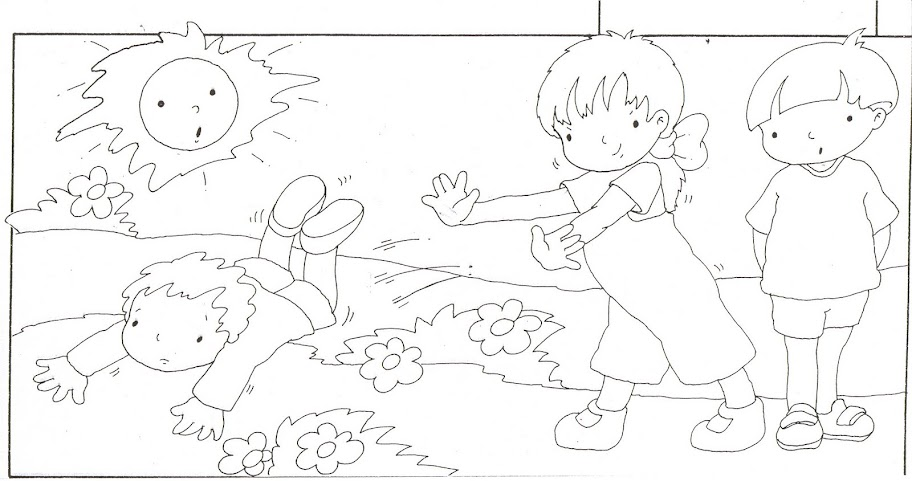 Niño empujando a otro niño para colorear - Imagui
