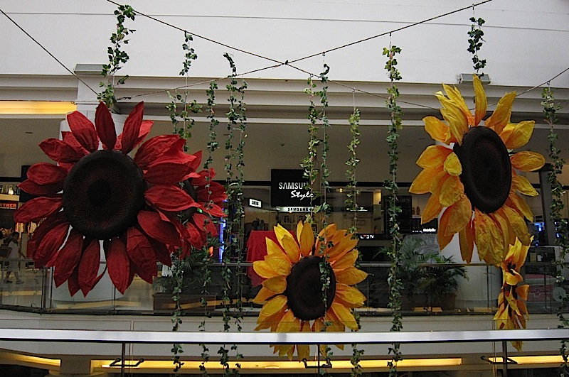 sunflower decorations at Eastwood Mall
