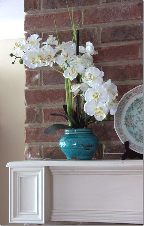Spring Turquoise Mantel Flowers