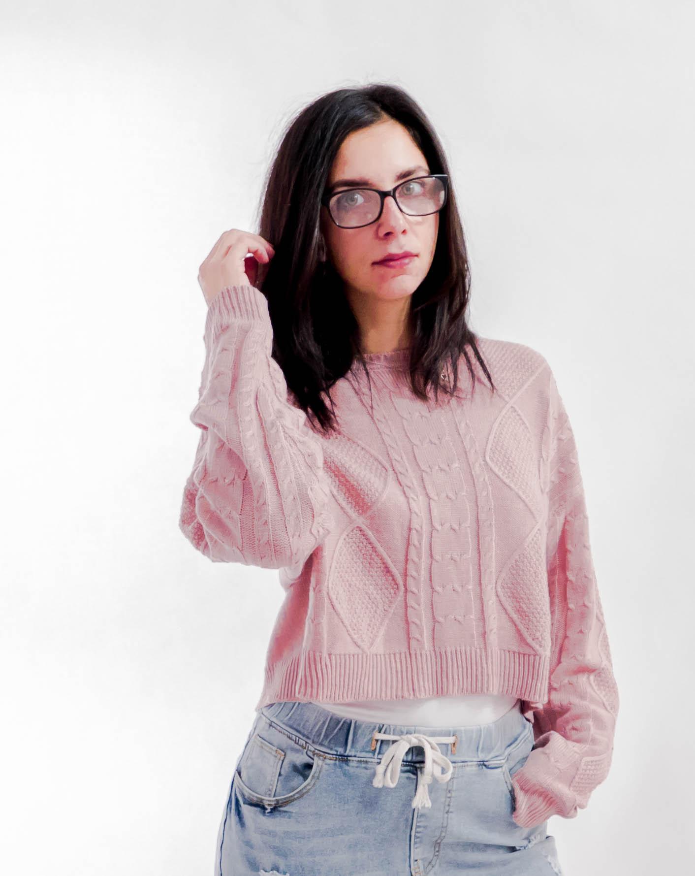 wełnany sweter splot warkocz
