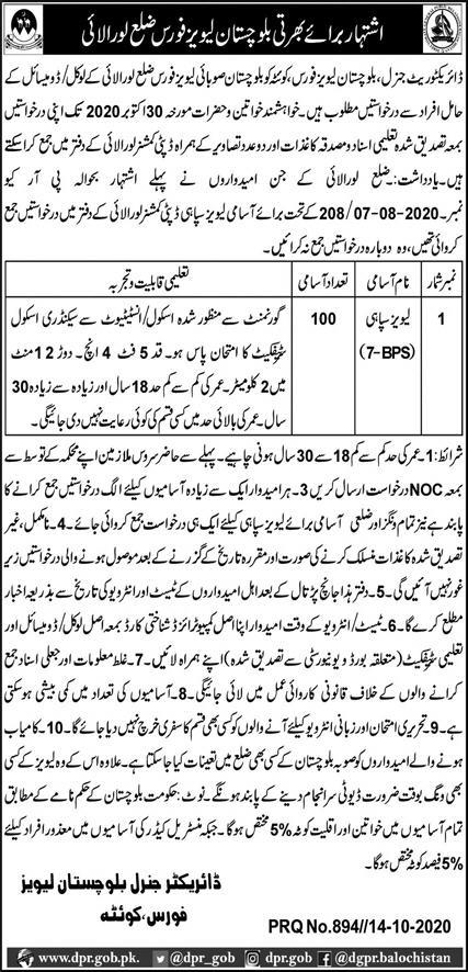 1000+Vacancy Balochistan Levies Force Jobs October 2020