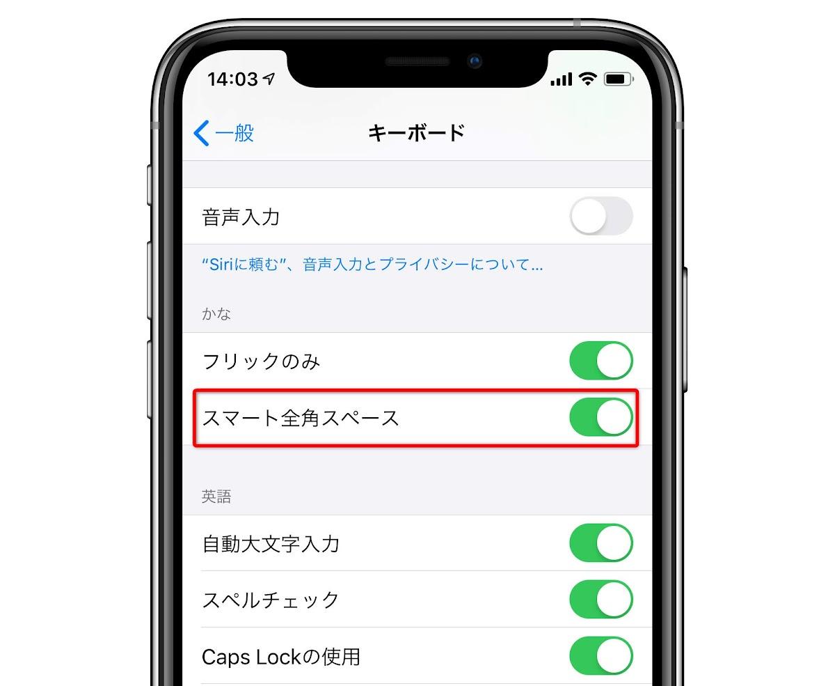iOS13で全角スペースになる→半角に戻す方法:ちなみに半角カタカナも入力可能にの画像