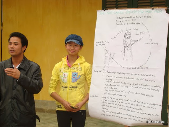 Student and teacher presenting result of the discussion after the exposure trip to the forest.