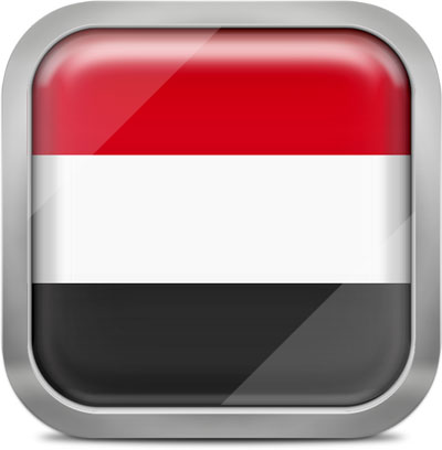 Yemen square flag with metallic frame