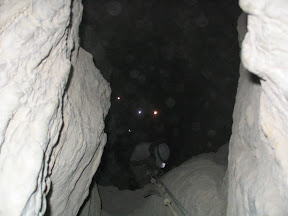 Those lights are the helmet flashlights of the crew as we descend into a dark cave