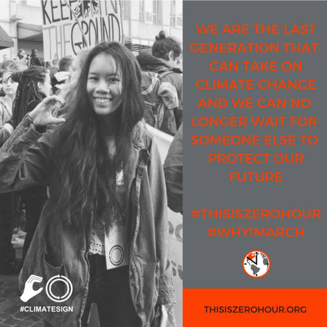 Promotional graphic for the Youth Climate March, sponsored by ThisIsZeroHour.org. It read, 'We are the last generation that can take on climate change and we can no longer wait for someone else to protect our future'. Graphic: ClimateSign / ThisIsZeroHour.org
