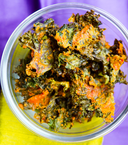 Cheezy Spicy Kale Chips!
