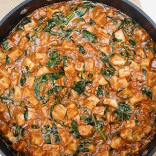Tofu w/Peanut Sauce & Spinach (vegan, gluten-free).