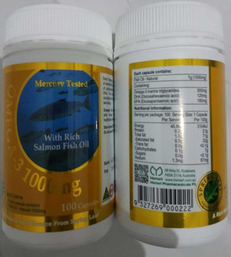 Spring Leaf Omega 3 With Salmon Oil 1000mg 100 Kapsul Softgel Very Recommended minyak ikan yang