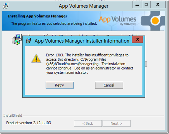 App Volumes Upgrade Error