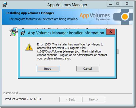 App Volumes Upgrade Error