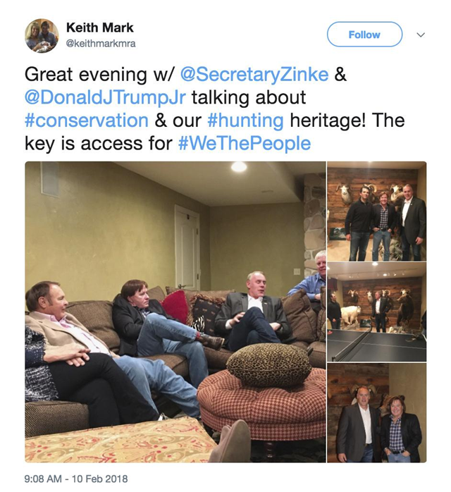 This screenshot of a Twitter post from the page of Keith Mark shows photos of Interior Secretary Ryan Zinke meeting with Donald Trump Jr. and Keith Mark. A new U.S. advisory board created to help rewrite federal rules for importing the heads and hides of African elephants, lions and rhinos is stacked with trophy hunters, including some members with direct ties to President Donald Trump and his family. Trump Jr. is friendly with another member of the advisory council – hunting guide and TV show personality Mark. He helped organize Sportsmen for Trump during the 2016 presidential campaign and recently posted photos on his Twitter page of himself with Trump Jr. and Zinke, standing before an array of mounted big-horn sheep and a bear. Photo: Associated Press / Keith Mark / Twitter
