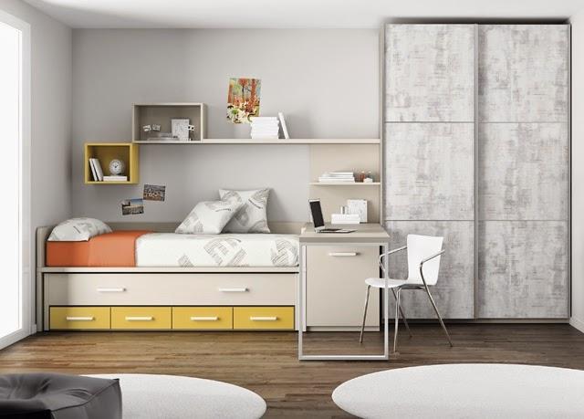Tipos de camas para dormitorios juveniles for Habitacion juvenil dos camas