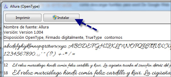 instalar fuentes windows